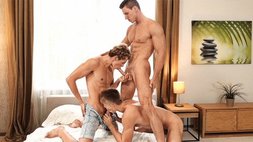 Niko Vangelis gets fucked bareback by Nils Tatum and Jerome Exupery